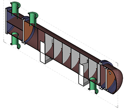 Pressure vessel section in 3D CAD