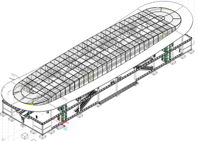 3D CAD model of a station in MicroStation