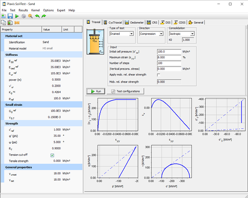 Triaxial test simulation with the HSsmall model using the PLAXIS Soil Test facility