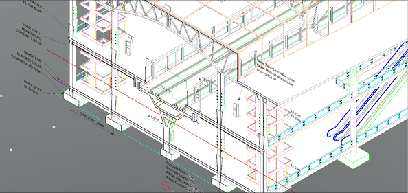 Station section 3D CAD model in MicroStation